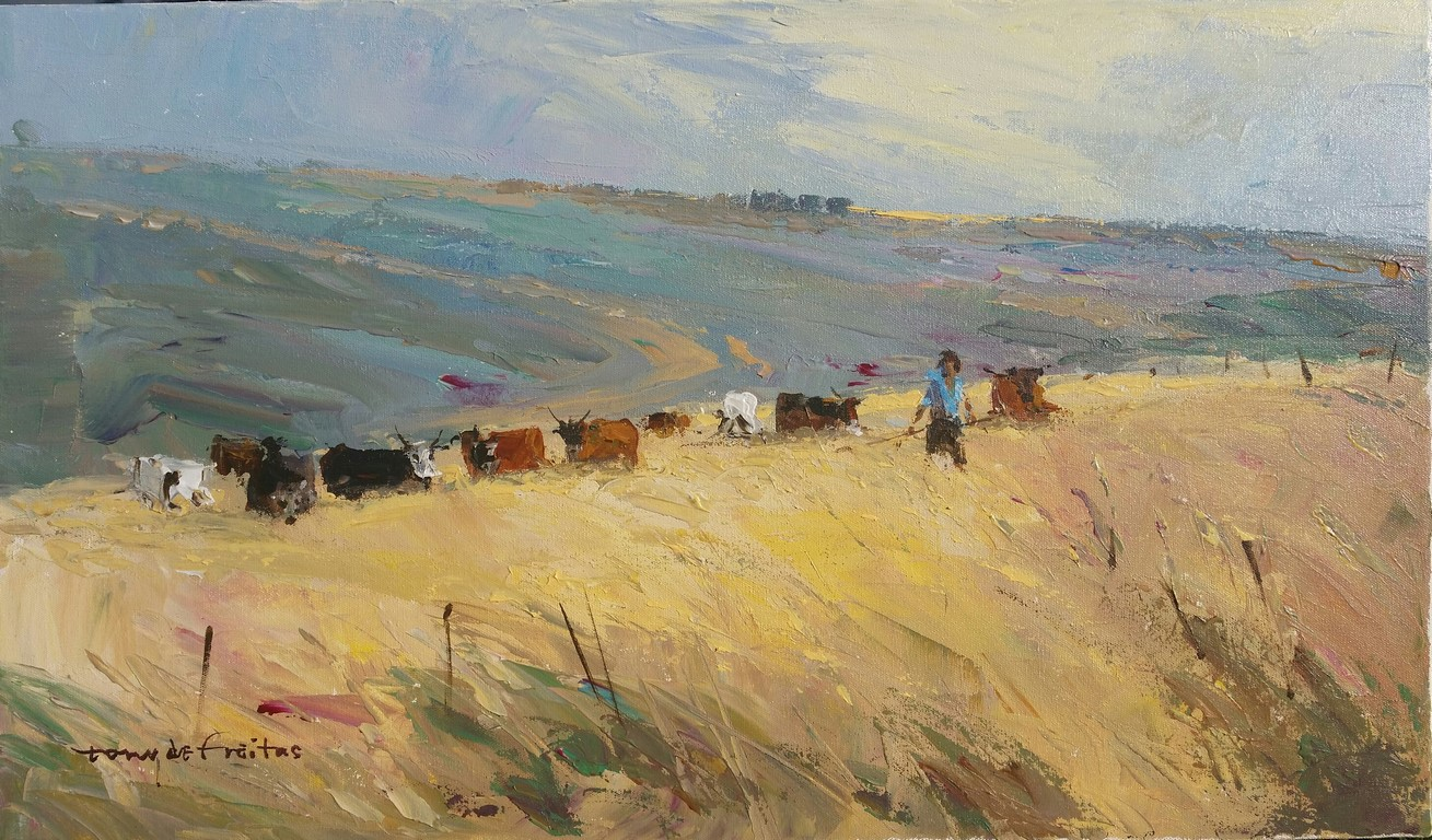 35x60cm Herd on the Hill